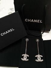 CHANEL Crystal Classic CC logo Drop Dangling Chain Silver earrings