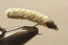 Fly Fishing Flies 12 Beaded Dust Mop Fly Light Olive color size 10 Barbless Jig