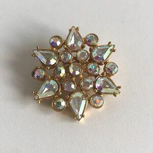 Vintage Gold Tone & Aurora Borealis Starburst Flower Star Brooch Crystal Stones
