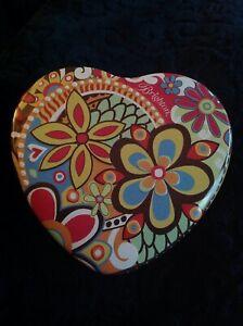 BRIGHTON Heart Shaped Collectible Flower Pop Art Trinket Box Tin