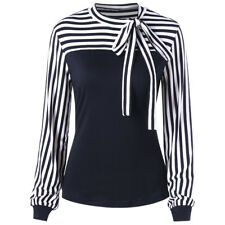 Women Ladies Bow Tie Striped Patchwork Casual Blouse OL Work Business Shirt Tops