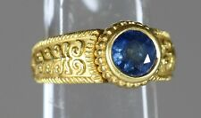 Cynthia Bach 18K Yellow Gold apx. 1.90ct Blue Sapphire HEAVY Ring size 6 3/4