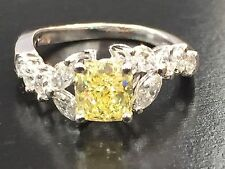 18Kt Fancy Intense Yellow Cushion Cut Diamond White Gold Engagement Ring 2.07CT