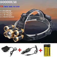 80000 Lumen Cree 5x XML T6 LED Rechargeable 18650 Headlamp Head Light Torch Lamp