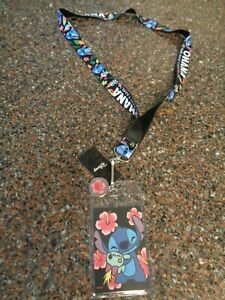 """Stitch """"Ohana Means Family"""" Lanyard with Metal Flower ID Badge NEW Lilo"""