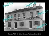 OLD LARGE HISTORIC PHOTO OF BALMAIN NSW, VIEW OF ALBION HOTEL NICHOLSON St c1920