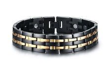 Mens Stainless steel Magnetic Therapy Link Bracelet Pain Relief Gold Black