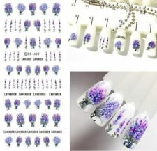 2Pcs Spring Purple Fresh Flower Nail Art Water Decal Lavender Transfer Stickers