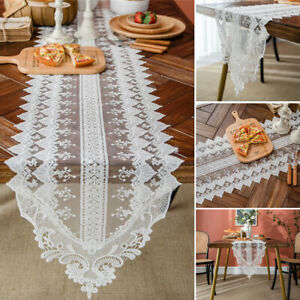 White Rectangle Lace Table Runner Wedding Dinner Party Table Cloth Cover Decor