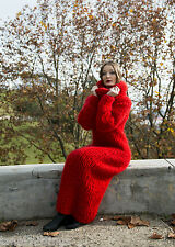 Red Chunky Longhair mohair sweater dress M  T-neck removable by LanaKnittings