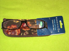 Magnivision Reading Glasses +1.50 Reader with Floral Case Purple