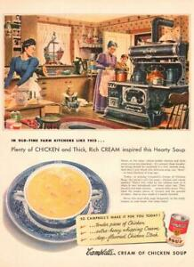 1951 Campbell's Soup  PRINT AD Cream of Chicken Soup Old time Kitchen Nook decor