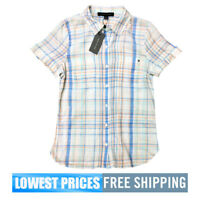 Tommy Hilfiger NWT Women's Button Front SS Shirting Blue Check ivm Blouse Top SM