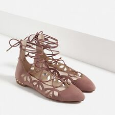 ZARA PINK GOAT LEATHER LACE-UP LEATHER BALLERINAS NEW TAG SIZE UK 4 IN BOX
