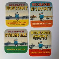 Vintage Beer Label Lot Belhaven Scotland New Old Unused Stock 1950s Sailor Lot 4