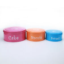 X755 Set of 3 Round Food Storage Canister Cake Biscuit Candy Snack Jar With Lid