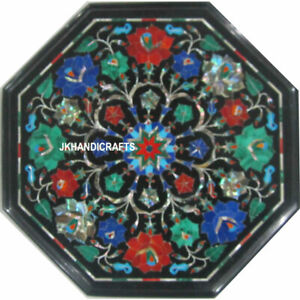 "12"" Marble Coffee Tables Semi Precious Inlay Pietra Dura Inlay Home Decor"
