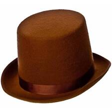 Adult Brown Top Hat Old England Willy Wonka Steampunk Fancy Dress
