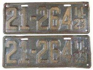 Illinois 1923 Vintage License Plate Pair Antique Car Roaring 20s Set Man Cave