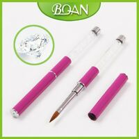1Pc Acrylic Nail Brush for Nail Art with Acrylic Handle Transparent Diamond 10#