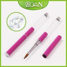 1Pc Acrylic Nail Brush for Nail Art with Acrylic Handle Transparent Diamond 10#