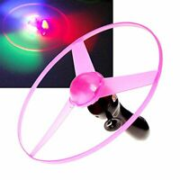 Funny Colorful Pull String UFO LED Light Up Flying Saucer Disc Kids Toy JC