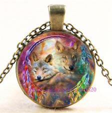 Cabochon Glass Chain Pendant Necklace Necklace Nebula Wolf Photo Tibet Silver