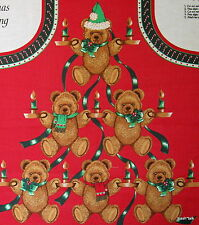 Christmas Gathering Fabric Panel bib apron Teddy Bear candle Wamsutta Hallmark