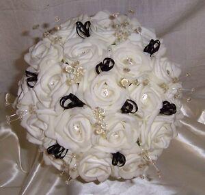 bride bridesmaid posy bouquet roses ribbons crystals diamante wedding flowers