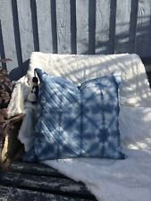 Cushion cover tie dye indigo blue quilted geometric made in Cornwall