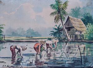ABU BAKAR IBRAHIM (1925-1977) Original Watercolour Farmers Kampung Malaysia 1960