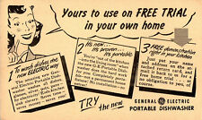 UNPOSTED 1 Cent General Electric Postal Card Advertising Portable Dish Washer