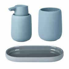 Set of 3 Blomus Sono Bathroom Set - Ashley Blue