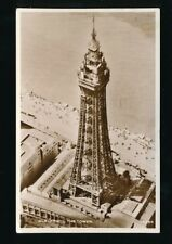 Lancashire Lancs BLACKPOOL The Tower aerial view Used 1954 RP PPC + cachet