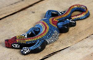 GECKO Figur Holzgecko Deko Echse Holzfigur Dekogecko Geckofigur Dotpaint Gekko