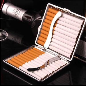 20 Cigarette Smoke Holder Storage Case Cigarette Case Leather Metal Hold Black
