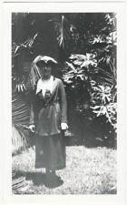 1930s Woman in Garden in Tri-Corn Hat Costume Snapshot