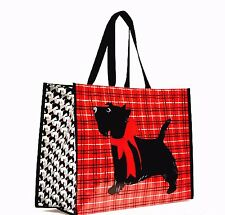 VERA BRADLEY Market Tote SCOTTIE DOGS Red Plaid Reusable Shopping Bag NEW