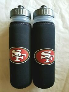 2-Water Bottles San Francisco 49ers Logo Travel Squeeze 22 oz Neoprene Wrap  -FS