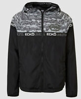 $130 Ecko Unltd Men's Black Hooded Zip Up Logo Tape Mullet Windbreaker Size XL