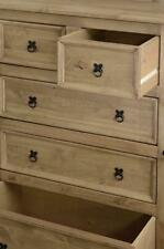 Corona 5 Drawer Chest in Distressed Waxed Pine Solid Wood Bedroom Furniture