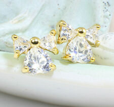 18k Gold Filled Bow Stud Earrings with Cubic Zirconia