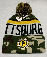 Pittsburgh Steelers Camouflage Team Color Landmark Patch Pom Pom Knit Beanie Hat