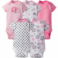 Gerber Baby Girl 5 Pack Onesies, Pink Flowers and Bear, Short Sleeve Bodysuits