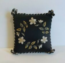 Vintage Black Silk Embroidered Pillow Pin Cushion, Needlework