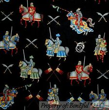 BonEful Fabric FQ Cotton Quilt B&W Medieval Knight Horse Flag Sword Silver Gold