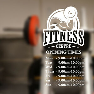 Custom opening times Gym fitness wall sticker quote decal art w187