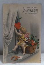 AK Prägekarte zum Namenstag Engel verteilt Herzen gel. 1909