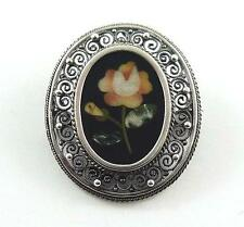 Vintage Petra Dura Rose Pendant and/or Brooch in a .800 Silver Filigree Mount