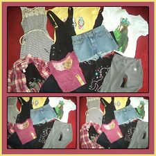 HUGE LOT SUMMER CLOTHES SHORTS TOPS DISNEY LUCKY BRAND GIRLS SIZE 14/16 JR XS 0